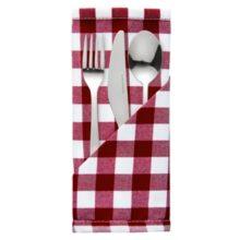 Gingham polyester vierkant servet 40cm-Sans Marque