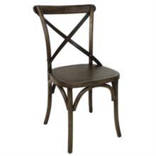 Bolero houten stoel met gekruiste rugleuning walnoot (2 stuks)-Bolero