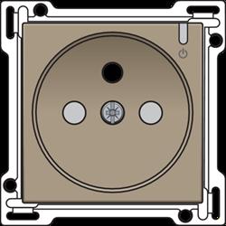 Niko123-66630: Afwerkingsset voor aangesloten geschakeld stopcontact met penaarde en bedieningsknop, bronze