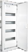 Inbouw verdeelbord met 4 rijen van 14 modules. Stevige 56-module kast vervaardigd uit thermoplastisch materiaal met metalen deur. Solera Metalbox MP56