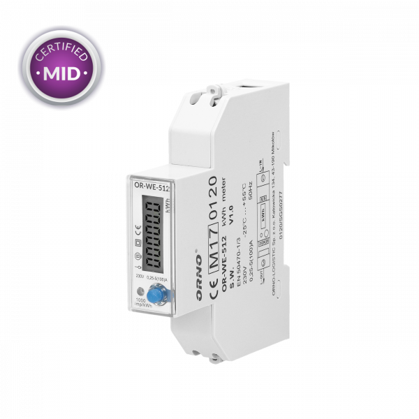 OR-WE-512: Digitale kWh-teller MID mono 100A